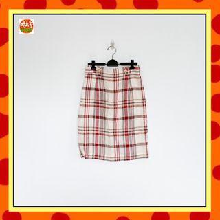 二手 米白色 格紋 輕薄 合身 短裙 明太子 B618