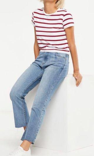Washed Blue high kick flare-stretch crop jeans