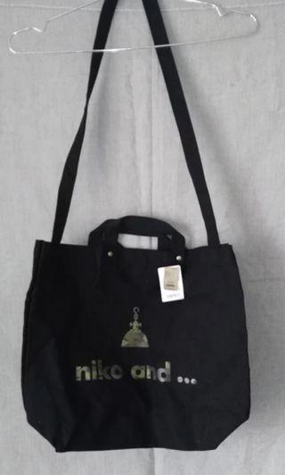 Niko and tote bag black 帆布袋 帆布包