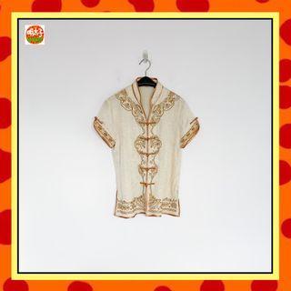 二手 米白色 棕色刺繡 中國風 短袖 上衣 明太子 B618