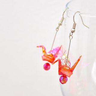 21 Beautiful origami paper crane earrings in Orange and Red Japanese, handmade