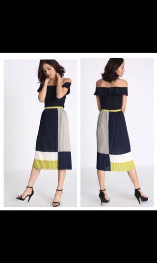 Love bonito shonda coloured block pleated skirt not collate love bravery