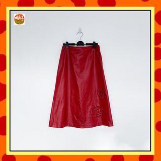 二手 酒紅色 刺繡 亮面材質 長裙 明太子 B618