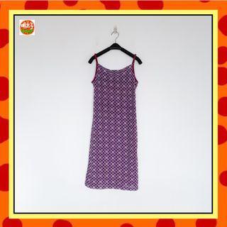 二手 紫色 印花 彈性 合身 細肩帶 洋裝 明太子 B618