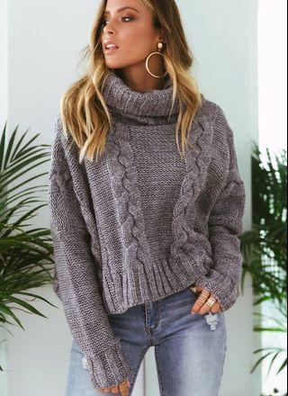 Grey Chunky Turtleneck Knit Jumper