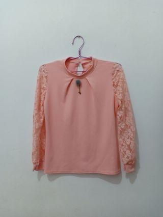 Preloved Peach Blouse Top