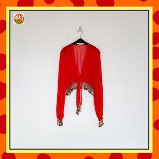 二手 紅色 薄紗 短板 寬鬆 綁帶 珠珠 叮叮噹噹 大漠熱情 罩衫 上衣 明太子 B618