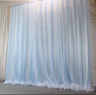 Rental blue pink tutu backdrop curtains