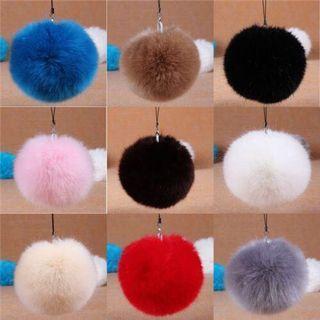 Pompom Keychain Ball Faux Fur 8cm Ball Monster Soft Fluffy Charm Dangle