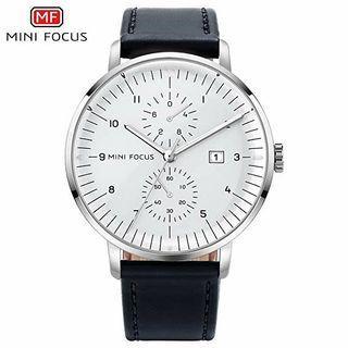 Mini Focus Original Watch Quartz Clock Genuine Leather Strap Calendar Waterproof Wrist Watches