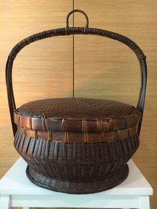 Handmade Bamboo Basket with Handle & Lid