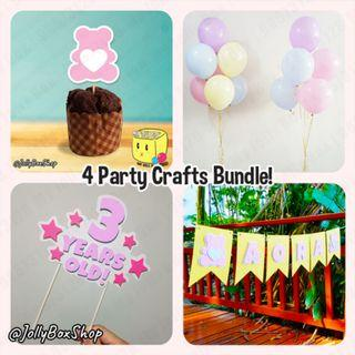 4 Party Crafts Bundle, Bunting Banner Plus Helium Inflated Balloons Plus Cake Topper Plus Cupcake Topper #PartyDecorations