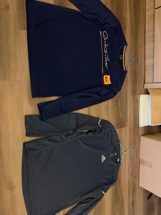 Assorted branded long sleeve sports apparel