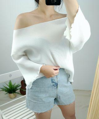 韓國簡約一字領微透膚雪纺上衣