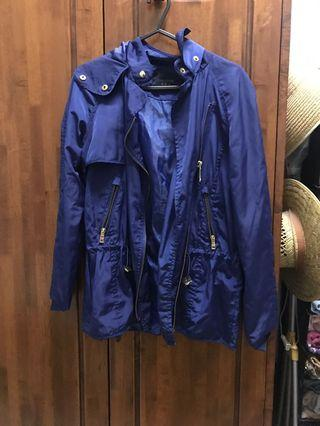 Zara Biker Rain Jacket in Cobalt Blue