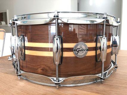 Gretsch Walnut Shell 14x6.5 inch Snare drum with Maple inlay