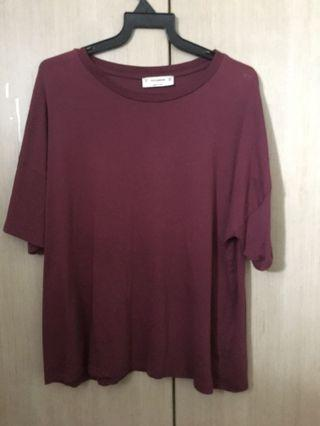 Pull and bear maroon oversized tee