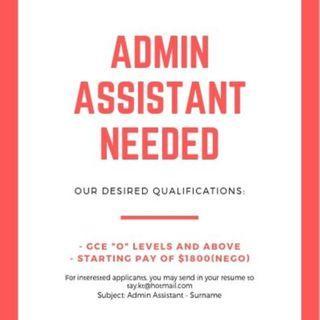 Admin Assistant / Office Assistant SINGAPOREAN/PR ONLY