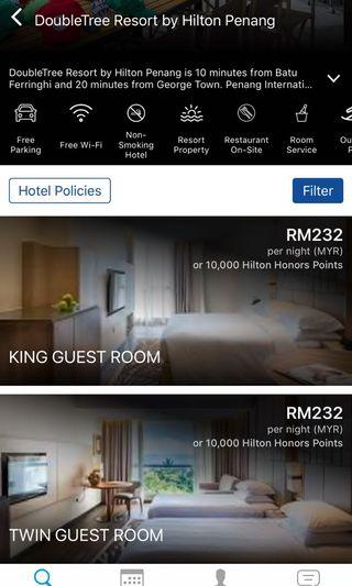 Penang Double Tree Hilton Hotel Room