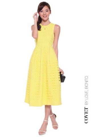 Covet Dael Eyelet Midi Dress