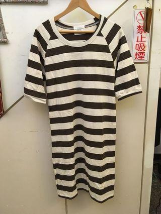 國外帶回黑白條紋洋裝 可議