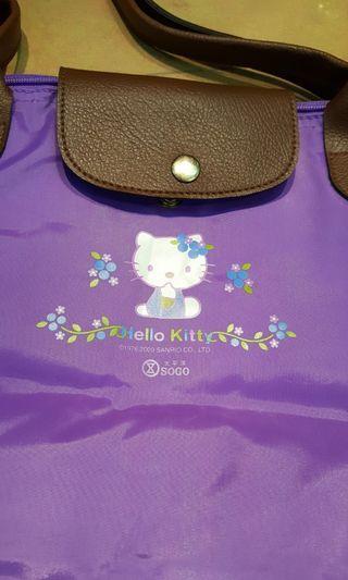 KITTY紫色可折疊萬用袋