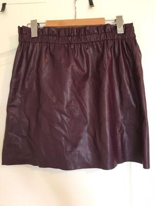 Purple Leather Skirt - S