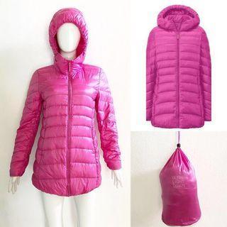 Uniqlo pink ultra light down coat / jacket (ultralight bulu angsa)