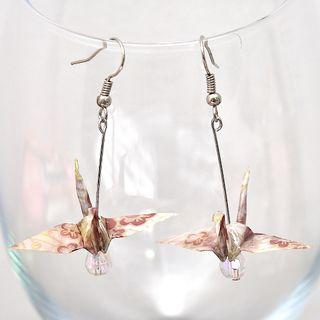 22 Beautiful origami paper crane earrings in Brown plum, Japanese, handmade