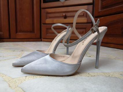 Satin Silver Heels