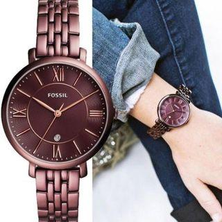 Fossil Women's 36mm Jacqueline Wine Stainless Steel Watch ES4100