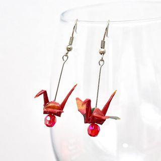 24 Beautiful origami paper crane earrings in Pink polkadot, Japanese, handmade