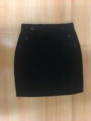 Black pencil mini skirt with button detailing