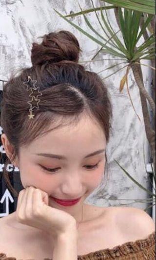 #Paradigm Hairpin Geometric Hollow Pendant Metal Hair Clip - Gold Star
