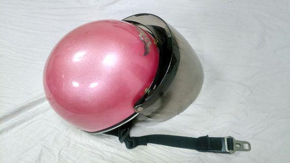 🚚 安全帽 半頂式 瓜皮帽 雪帽 桃紅色附鏡片