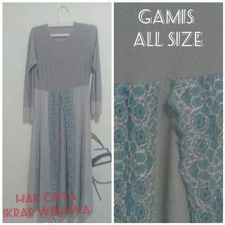 Dress Minidress | Gamis (busana muslim) all size warna grey