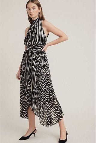 BNWT Witchery Zebra Print Pleat Midi Dress Size 6