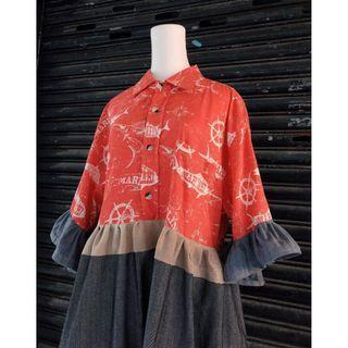 豬肉小姐 復古 古著  自改洋裝  拼接洋裝 格子洋裝  品牌洋裝 公主風 短袖洋裝 造型洋裝 夏威夷襯衫 REMAKE