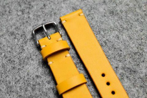 Italian Yellow Leather Watch Strap