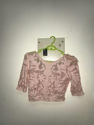 🚚 lace crop top pink