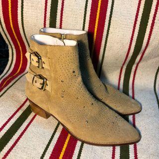 🍎麂皮西部🇺🇸木跟短靴 歐美日本短靴 麂皮靴波希米亞美式復古短靴 扣環靴古著靴高筒靴低筒靴