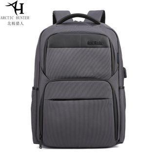 🚚 🔥PO🔥 Grey Trendy Design Men Backpack Outdoor Bag Travel Laptop Bag #MRTJurongEast