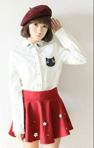 Korean Embroidery Cat Women Blouse Top White Kawaii