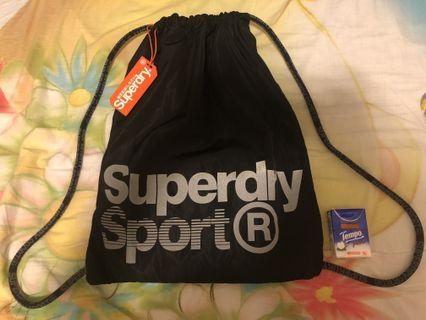 全新Superdry黑色索繩袋 NEW Superdry Black Bag