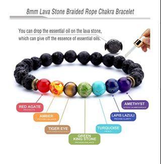 🚚 8mm lava stone braided rope chakra bracelet
