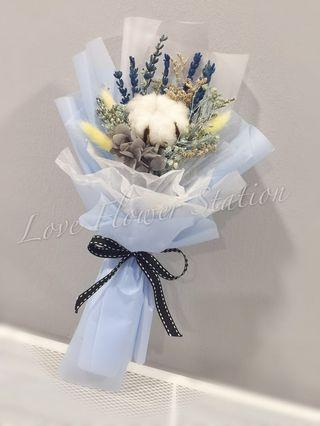 Mini Cotton With Dried Flower Bouquet/ Graduation Flower Bouquet/ Birthday Flower Bouquet/ Dried Flower Bouquet/ Teacher's Day Flower Bouquet