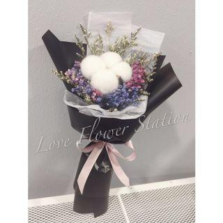 Mini Cotton With Dried Baby Breath Flower Bouquet/ Graduation Flower Bouquet/ Dried Flower Bouquet/ Teachers Day Flower Bouquet/ Birthday Flower Bouquet