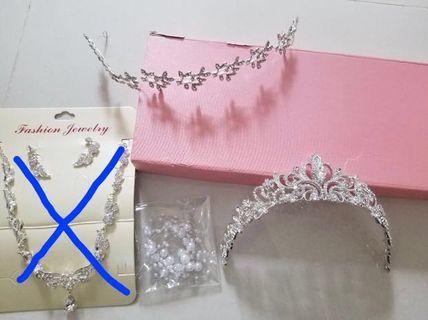 全新‼️結婚物資 首飾、頭飾、頸鏈耳環、皇冠、新娘、新郎、姊妹 Wedding Necklace Accessories Hair Band