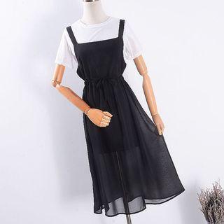 🚚 雪紡抽繩連身長裙洋裝