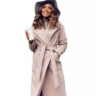 (PO) S-L elegant Long Women's coat lapel 2 pockets belted Jackets solid color coats Female